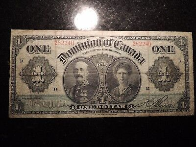 1911 DOMINION OF CANADA $ 1 ONE DOLLAR DC-18b GREEN LINE D SERIES BOVILLE 282240