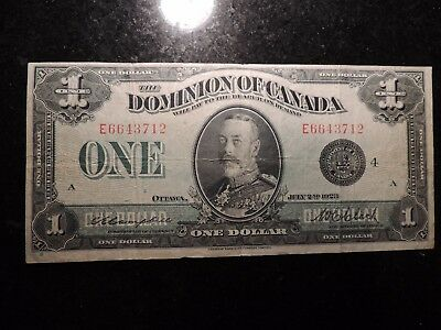 1923 DOMINION OF CANADA $1 ONE DOLLAR CAMPBELL CLARK BLACK SEAL DC-25o E 6643712