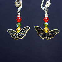 Swarovski Crystal and Pewter Butterfly Sterling Silver Earrings
