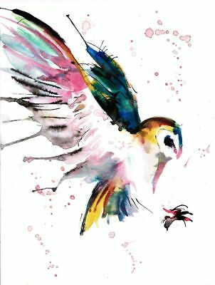 , Bird, watercolor -artwork -fly High quality Canvas print Unframed or Framed