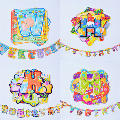 1set cute cartoon animals baby shower banners kids birthday party decorationsGT
