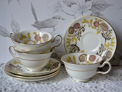 set 4 WEDGWOOD BONE CHINA ENGLAND TEA CUP AND SAUCER - LICHFIELD