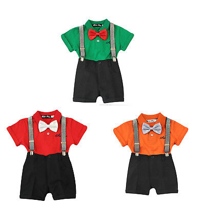 Baby Boys smart summer outfit set with short sleeve T-shirt shorts braces bowtie