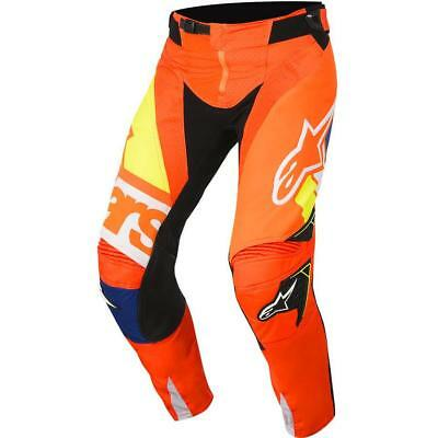 NEW Alpinestars 2018 Techstar Factory Fluro Orange/Navy Pant from Moto Heaven