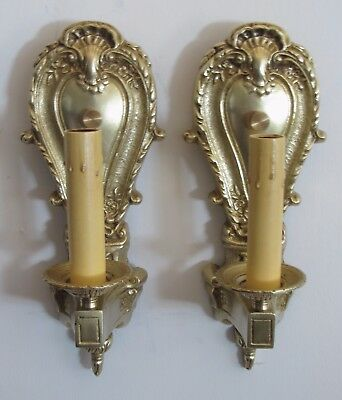 Antique Art Deco Elegant Cast Brass Sol Ray Electric Candle Sconces Restored