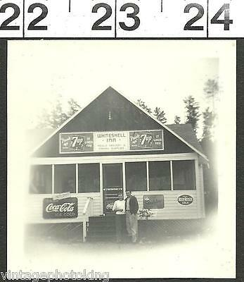 Vintage 1948 Photo Men By Inn Has Coca Cola Sign 7Up & Red Rock Cola Sign (1875