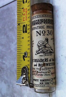 Vintage Humphrey's 'No.30', Tablets for Bed wetting, Corked Bottle