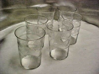 Vintage 1930's Cut Floral Water Tumbler lot of 6 Pieces Swirl Optic Design