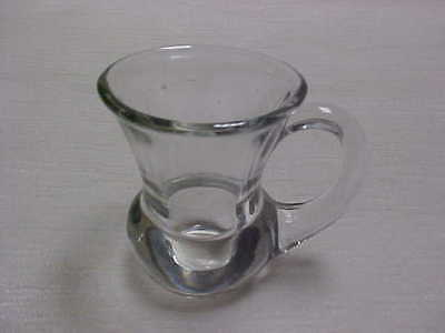 Vintage 1930's Morgantown Glass Shot with Handle Clear Color Flared Top Edge