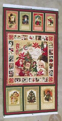 """CHRISTMAS PAST Old Fashioned Santas Quilt Fabric Panel Cotton 23"""" X 45"""" NEW"""