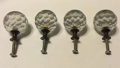 4 Vintage Crystal Ball Prism Cut Glass Round Knobs Drawer Pull Metal Base