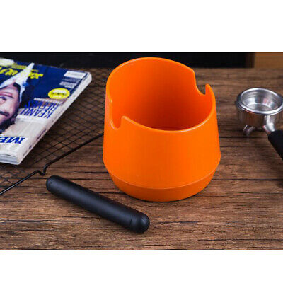 Coffee Knock Box Espresso Grinds Tamper Waste Bin with Handle Orange