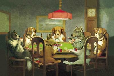Dogs Playing Poker Cards Art Silk Poster print home Decor 60X90 CM