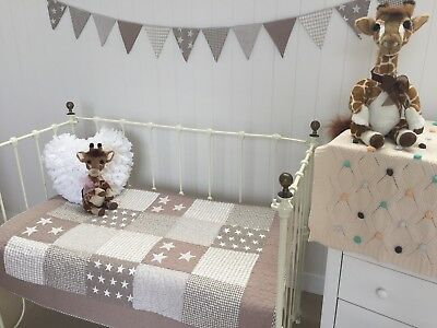 Natural Nautical Stars Baby Boys Girls Cot Quilt Lachlan Coverlet Play Mat
