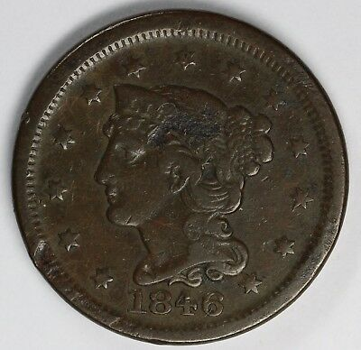 1846 1c Braided Hair Large Cent UNSLABBED