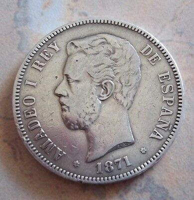 1871 Spanish 5 Pesetas Coin , Amadeo I .