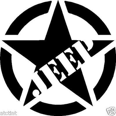 a2e52e93 Large JEEP Military Star Custom Window Decal Sticker Wrangler tj jk cj yj  xj wj