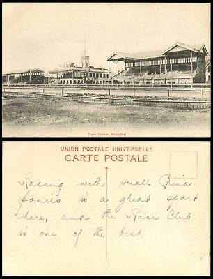 China Old Postcard Race Course, Shanghai, Chinese Horse Racecourse, Clock Tower