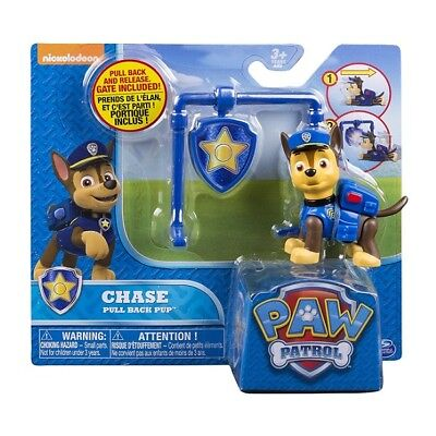 Paw Patrol Action Pack and Badge Assorted - CHASE Pull Back Pup with Gate Toy