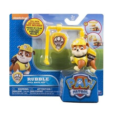 Paw Patrol Action Pack and Badge Assorted - RUBBLE Pull Back Pup with Gate Toy