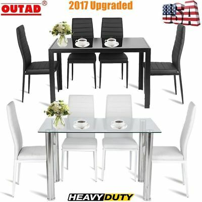 5 Piece Modern Glass Dining Table Set PU Chair Kitchen Room Pantry Furniture AS