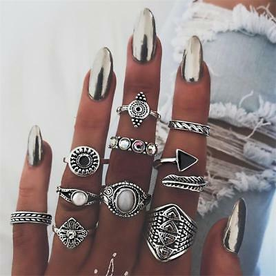 10pcs Vintage Bohemian Women Stone Crystal Opal Knuckle Finger Midi Ring Sets