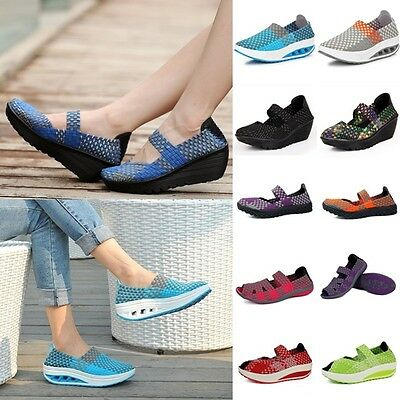 Womens Ladies Walking Fitness Toning Shoes Platform Wedge Sneakers Creeper Shoes