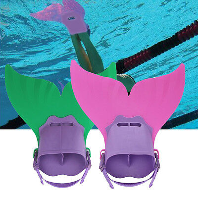 Swimming Costume Kids Swimmable Monofin Mermaid tail Mono Fin Flippers FN