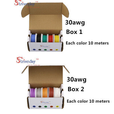 100m 30AWG Flexible Silicone Copper Wire 10 colors Mix box1+box2 Electrical line