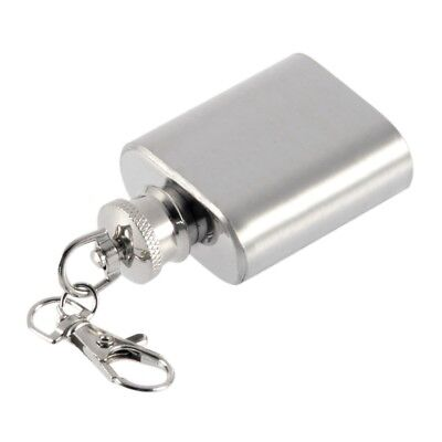 Portable 1oz Mini Stainless Steel Hip Flask Alcohol Flagon with Keychain TW