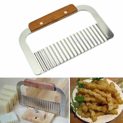 HOT! Stainless Steel Potato Chip Dough Vegetable Crinkle Wavy Cutter Blade Knife