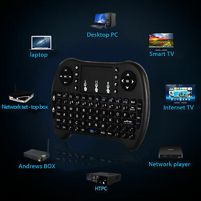 2.4GHz Mini Funk Kabellos Tastatur Touch Wireless Keyboard QWERTZ für Smart TV
