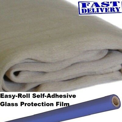 3 Large 12Ft X 6Ft Cotton Twill Dust Sheets  + Roll Glass Protection Film