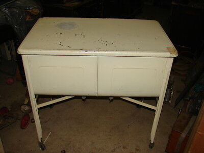 VTG GALVANIZED METAL Double Basin Wash Tub Stand Farm Sink Painted White w/ LID
