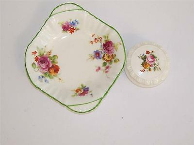 "Coalport ""Ludlow"" Miniature Trinket Box and Pretty Royal Doulton Floral Dish."