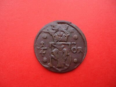 1634  SWEDEN  COPPER  COIN 1/4 Ore