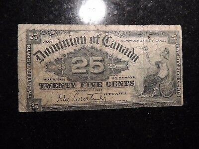 1900 DOMINION OF CANADA 0.25 CENTS PAPER COURTNEY SIGNATURE SHINPLASTER DC-15a