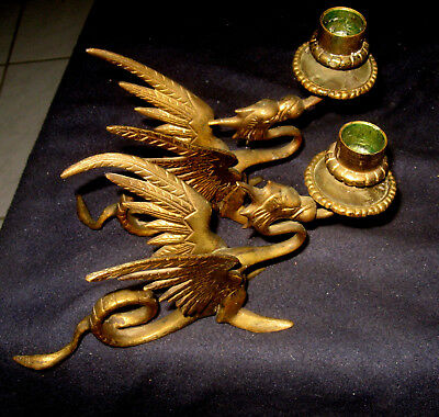 Pair of Ornate Solid Brass Gargoyle  Dragon Candles Vintage