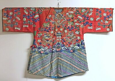 Beautiful Antique Old Chinese Kesi Jacket Robe With Gilt Thread Dragons