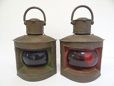 Nautical Japanese Ship Lantern Lamps Copper Antique Red Blue Glass Japan Old