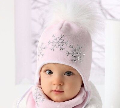 New Baby Infant Girl Winter Cotton Hat With Strings and Bandana  4-10 Months