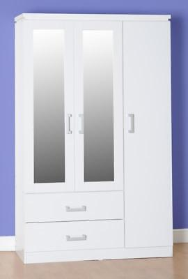 Charles White 3 Door 2 Drawer Mirrored Wardrobe *free Next Day Delivery