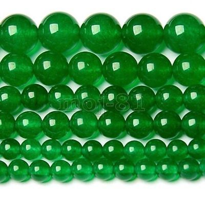 4mm-12mm Natural Green Jade Round Gemstone Jewelry Loose Beads 15'' AAA