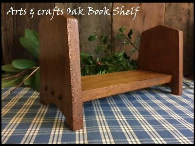 Antique Arts & Crafts Mission Heavy Oak Vintage Wood Book Shelf Arched Ends
