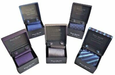 Mens Pierre Roche Tie Handkerchief and Cuff Link Gift Box Set Navy Purple Grey