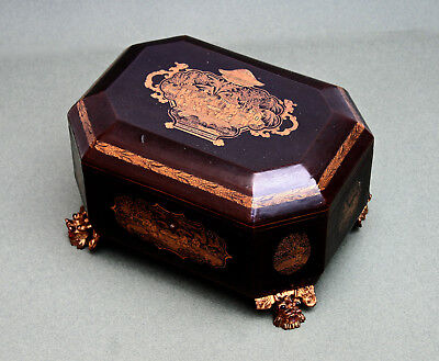 Antique Chinese Export Lacquer Tea Caddy - French Flea Market Find