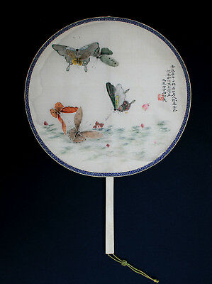 Antique Chinese Fan Hand Painted Calligraphy Silk Butterflies