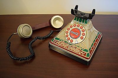 Vintage Look Coca-Cola Stained Glass Tiffany Style Lighted Desk Phone - L@@K
