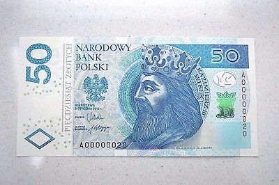 Rare Poland, Polish 50 Zloty Low Serial Number Note! Series A, #20, Unc!