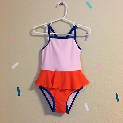Tinycottons Ruffle Swimsuit Skirted Red Blue Pink $77 Size 2 NWT